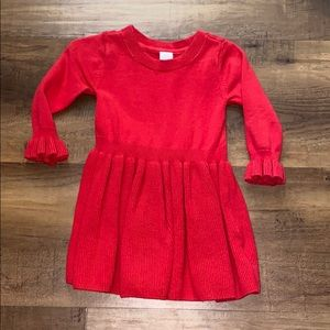 Girls Red Knit Dress